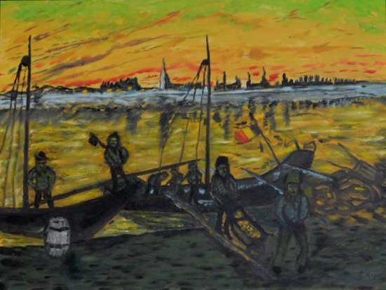 Oil Painting > Coal Barges > No price guide Offers considered